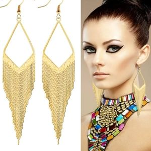 Jewelry - 🎀 Rhodium & Gold Plated Long Tassel Earings